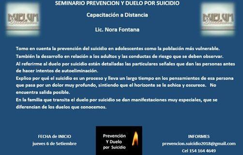 [EVENTO 6/09/18] SEMINARIO PREVENCION Y DUELO POR SUICIDIO
