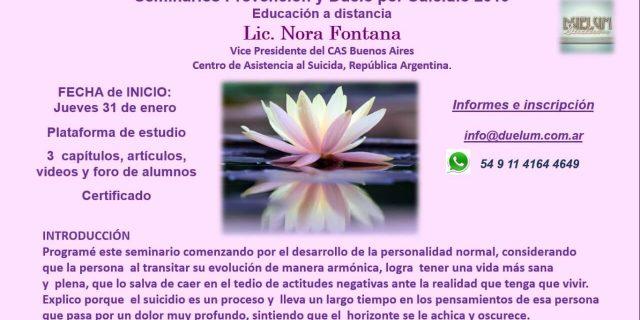 [EVENTO 31/01/19] SEMINARIO PREVENCION Y DUELO POR SUICIDIO